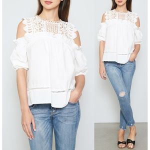 dfd300108b804c White Crochet Ruffle Cold Shoulder Boho Blouse Top